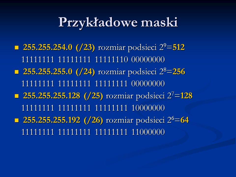 Przykładowe maski 255.255.254.0 (/23) rozmiar podsieci 29=512