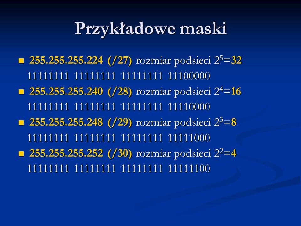 Przykładowe maski 255.255.255.224 (/27) rozmiar podsieci 25=32