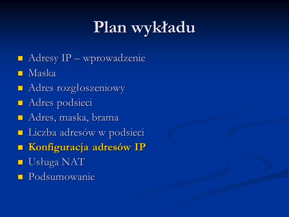 Plan wykładu Adresy IP – wprowadzenie Maska Adres rozgłoszeniowy