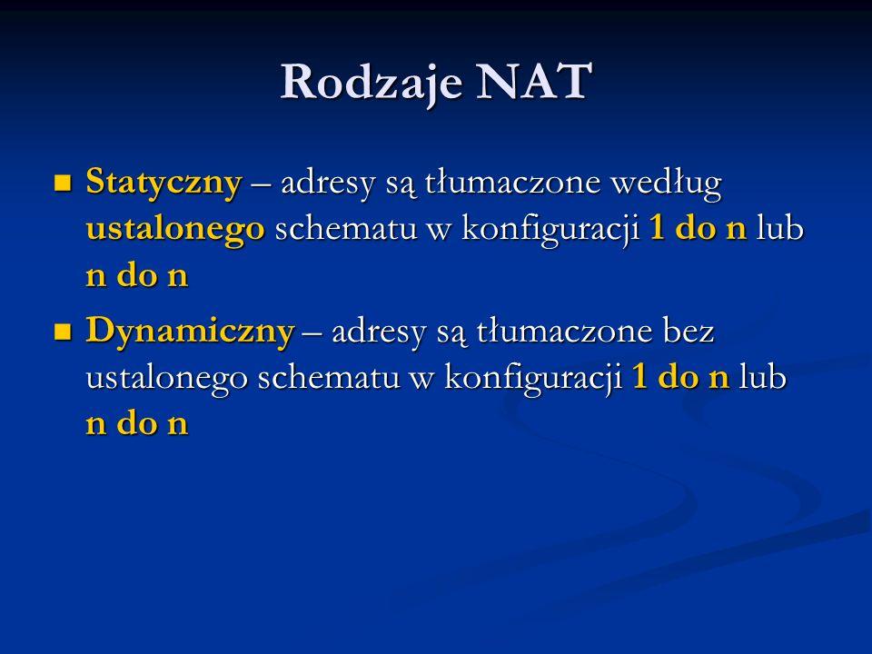 Rodzaje NAT Statyczny – adresy są tłumaczone według ustalonego schematu w konfiguracji 1 do n lub n do n.