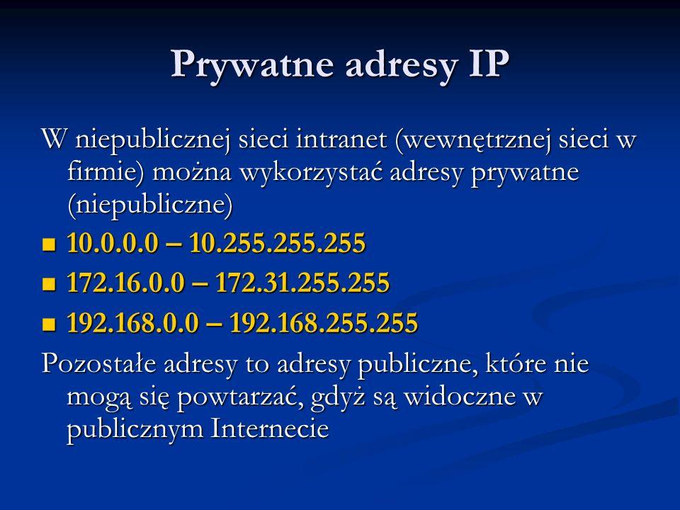 Prywatne adresy IPW niepublicznej sieci intranet (wewnętrznej sieci w firmie) można wykorzystać adresy prywatne (niepubliczne)