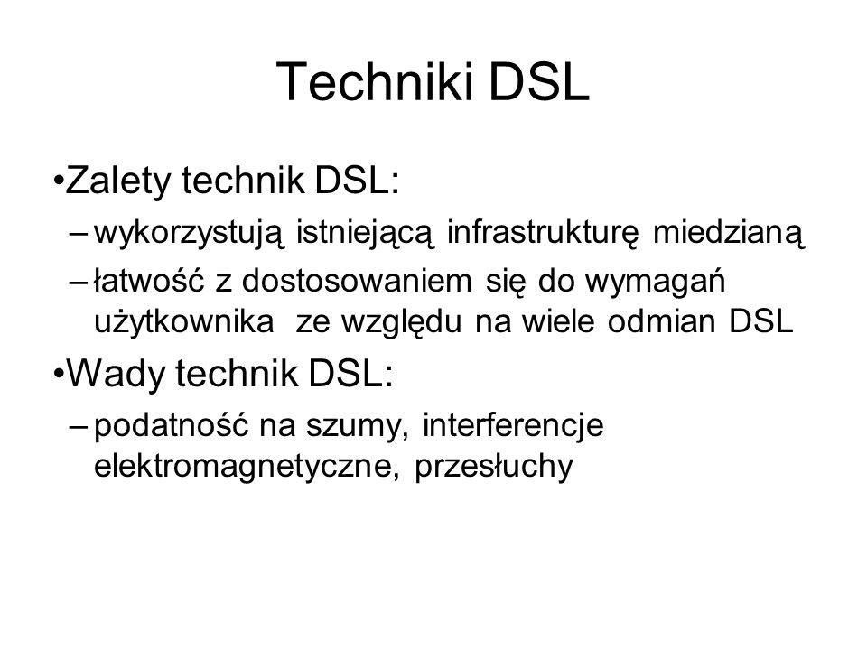 Techniki DSL Zalety technik DSL: Wady technik DSL: