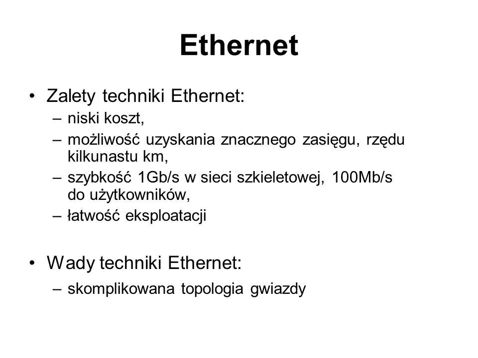 Ethernet Zalety techniki Ethernet: Wady techniki Ethernet:
