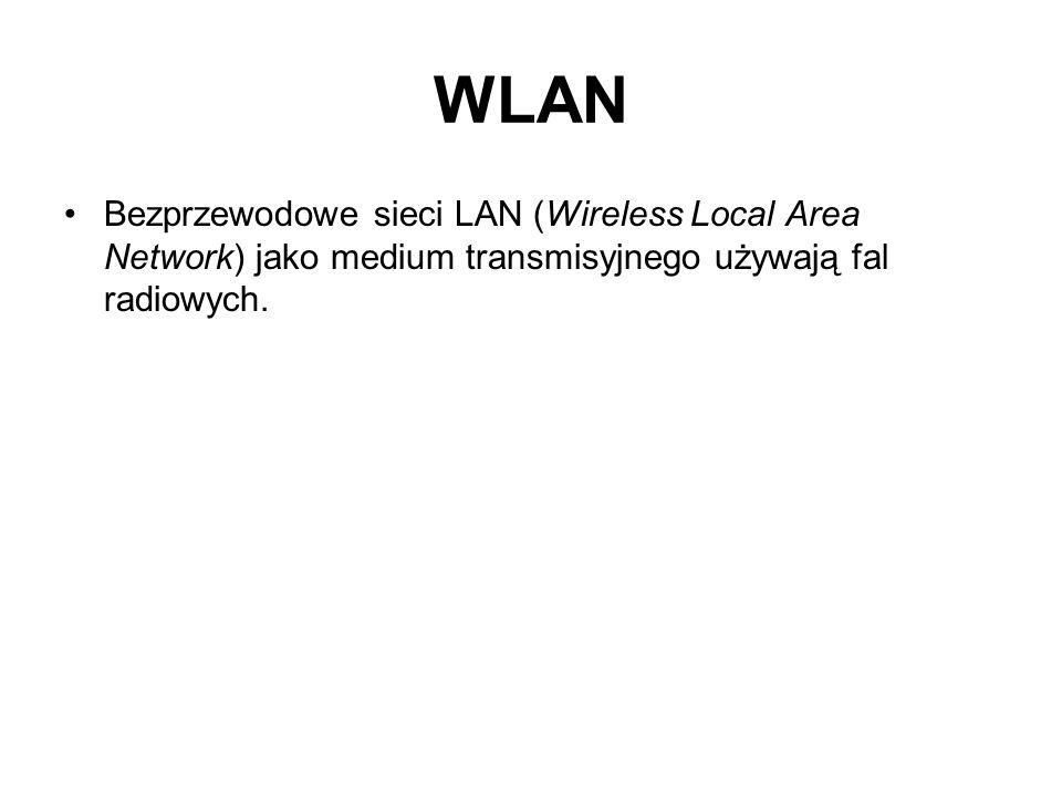 WLANBezprzewodowe sieci LAN (Wireless Local Area Network) jako medium transmisyjnego używają fal radiowych.