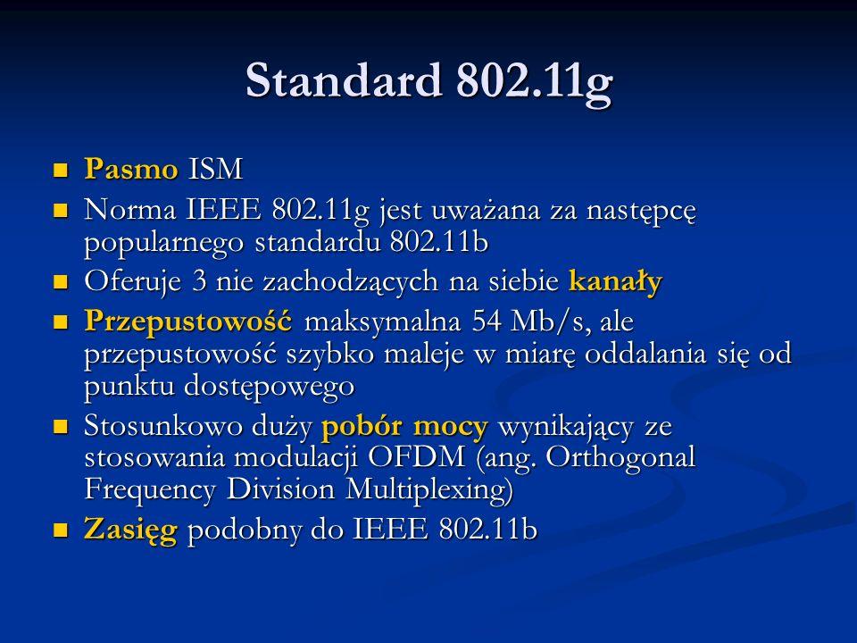 Standard 802.11g Pasmo ISM. Norma IEEE 802.11g jest uważana za następcę popularnego standardu 802.11b.