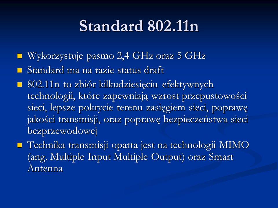 Standard 802.11n Wykorzystuje pasmo 2,4 GHz oraz 5 GHz