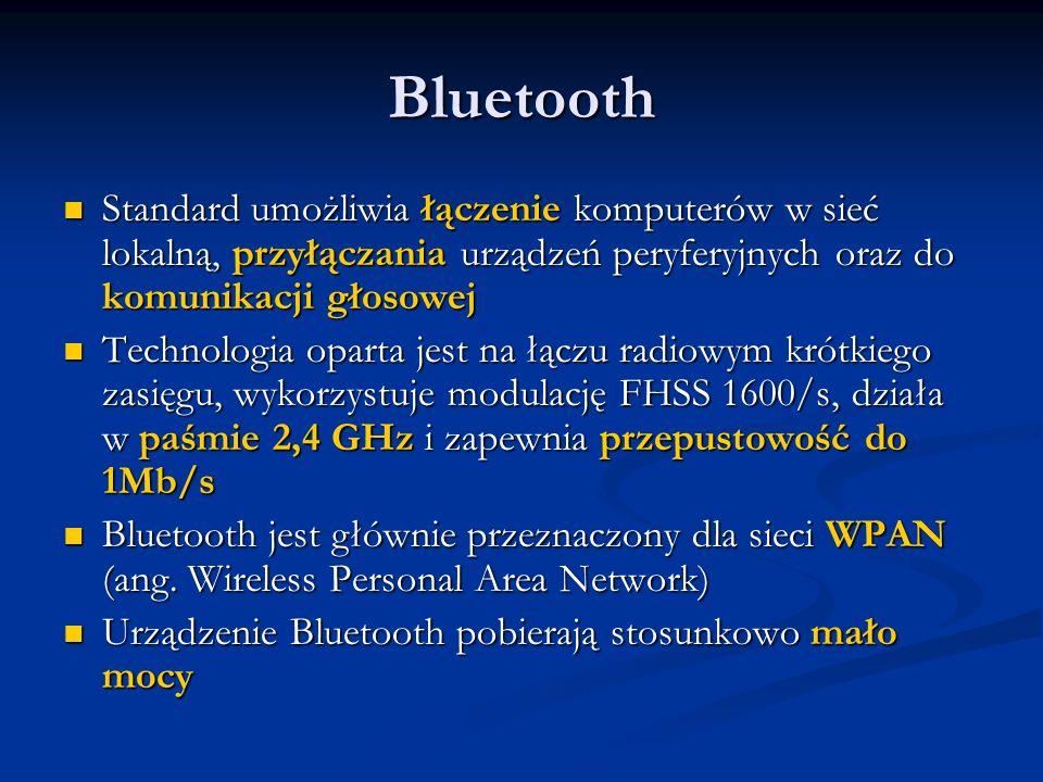 Bluetooth Standard umożliwia łączenie komputerów w sieć lokalną, przyłączania urządzeń peryferyjnych oraz do komunikacji głosowej.