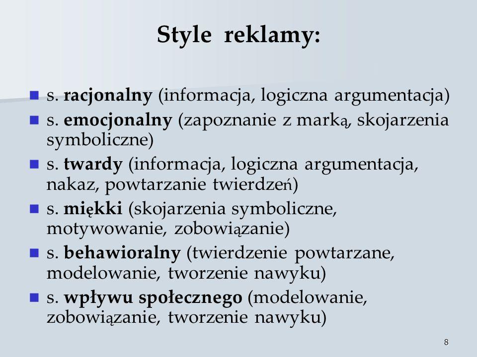 Style reklamy: s. racjonalny (informacja, logiczna argumentacja)