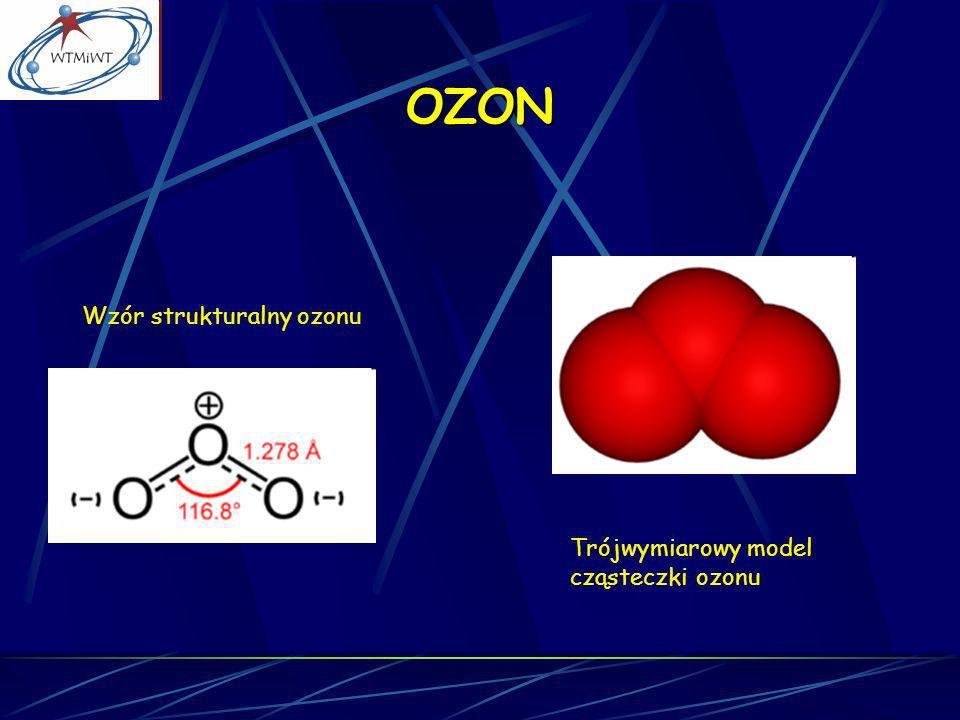 OZON Wzór strukturalny ozonu Trójwymiarowy model cząsteczki ozonu
