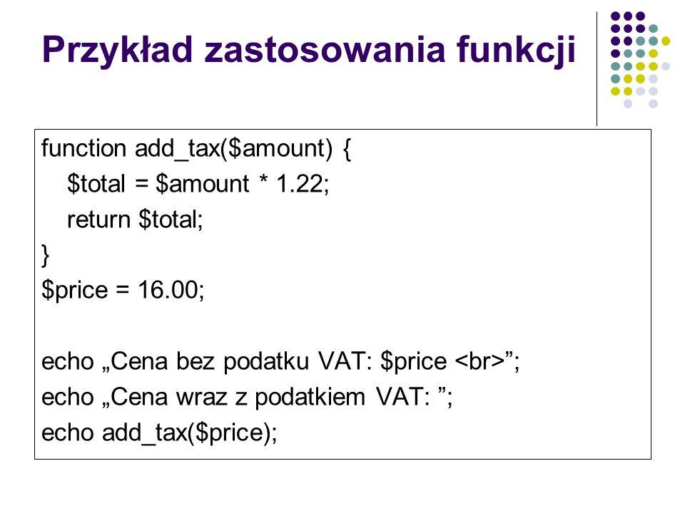 Przykład zastosowania funkcji