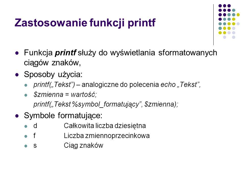 Zastosowanie funkcji printf