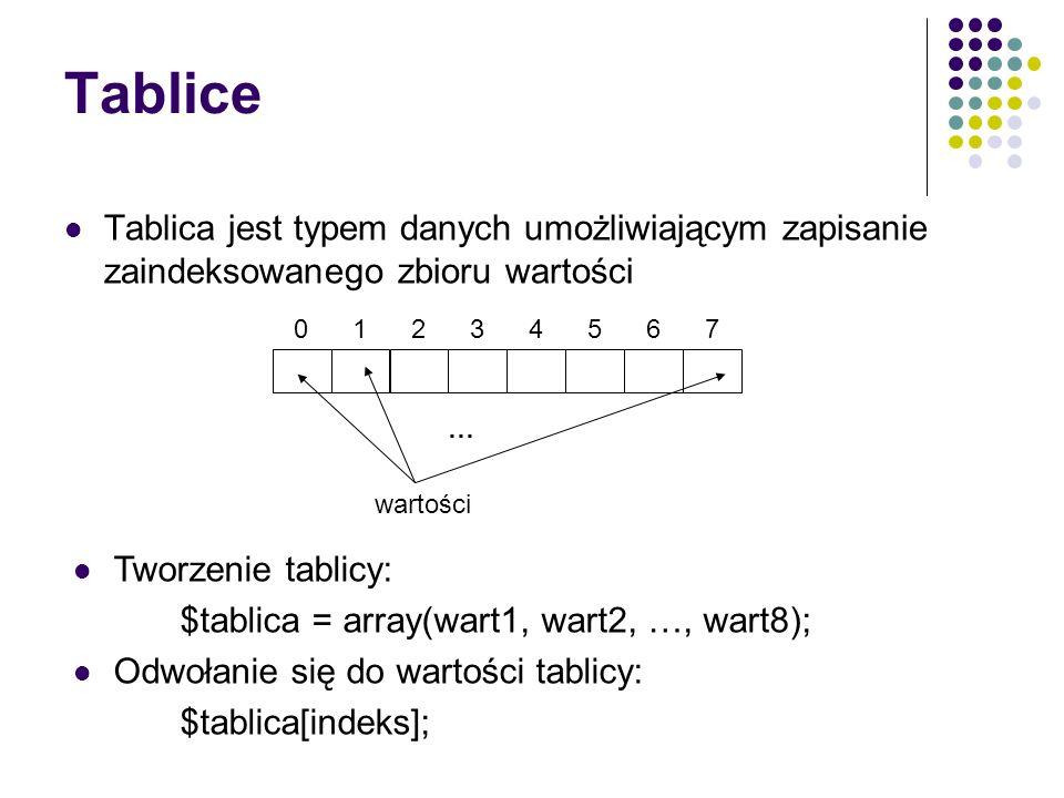 Tablice Tablica jest typem danych umożliwiającym zapisanie zaindeksowanego zbioru wartości. 5. 6.