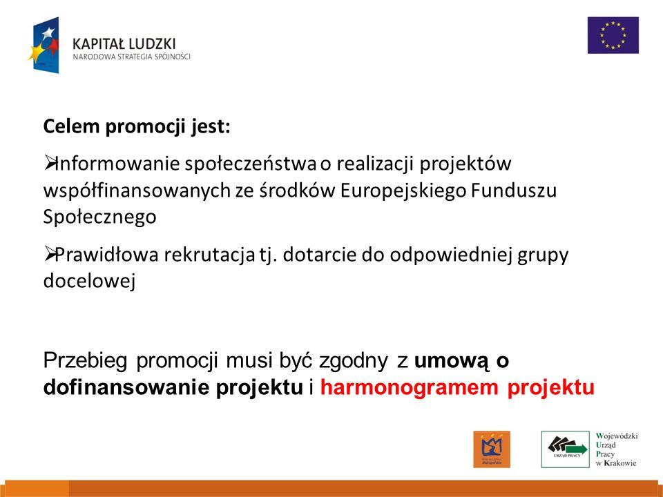 Celem promocji jest: Informowanie społeczeństwa o realizacji projektów współfinansowanych ze środków Europejskiego Funduszu Społecznego.