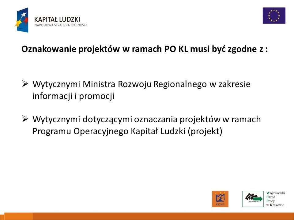 Oznakowanie projektów w ramach PO KL musi być zgodne z :