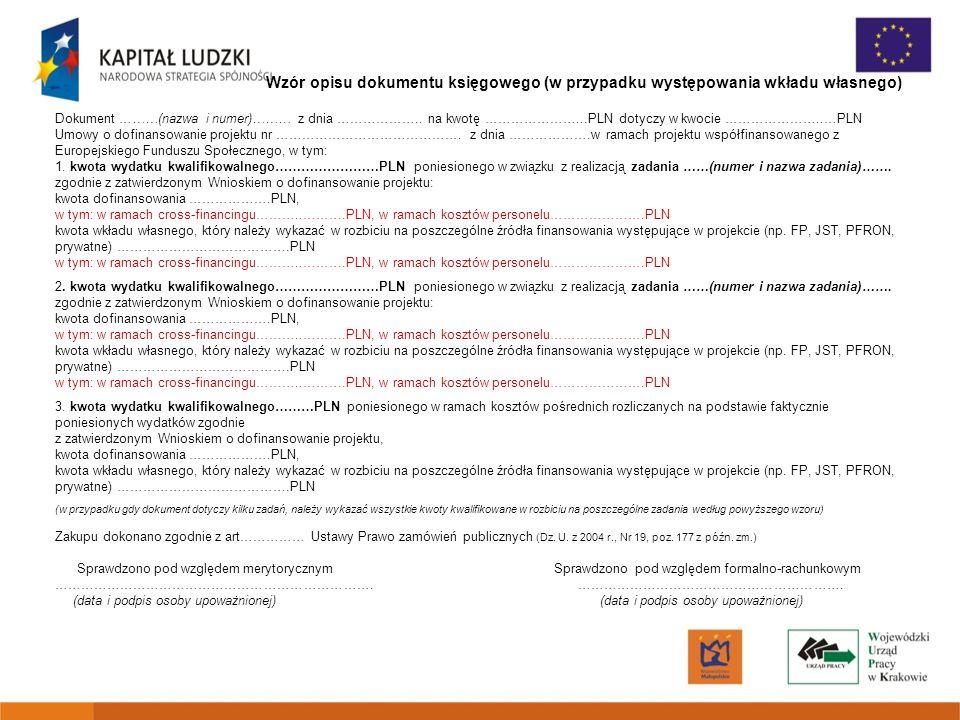 Wzór opisu dokumentu księgowego (w przypadku występowania wkładu własnego)