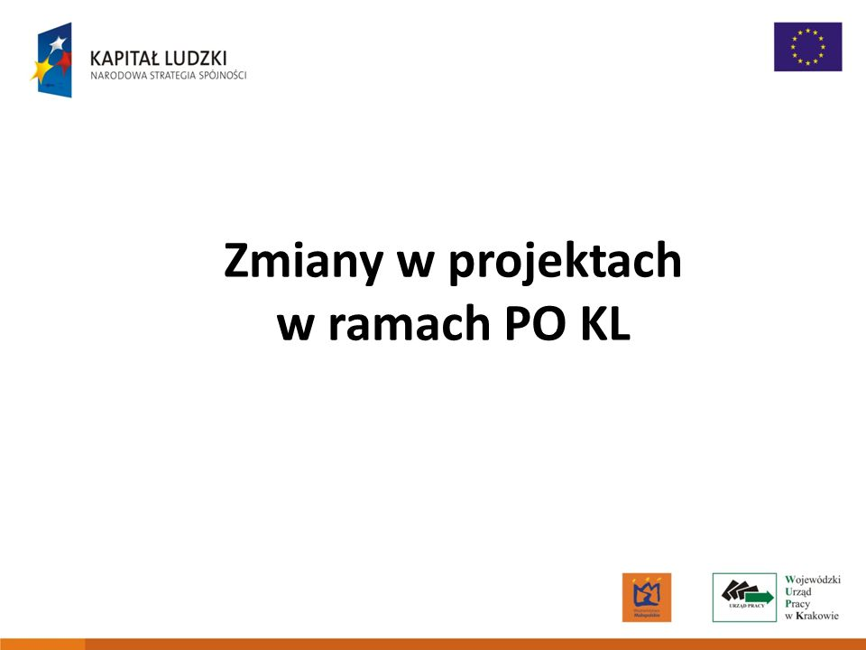 Zmiany w projektach w ramach PO KL