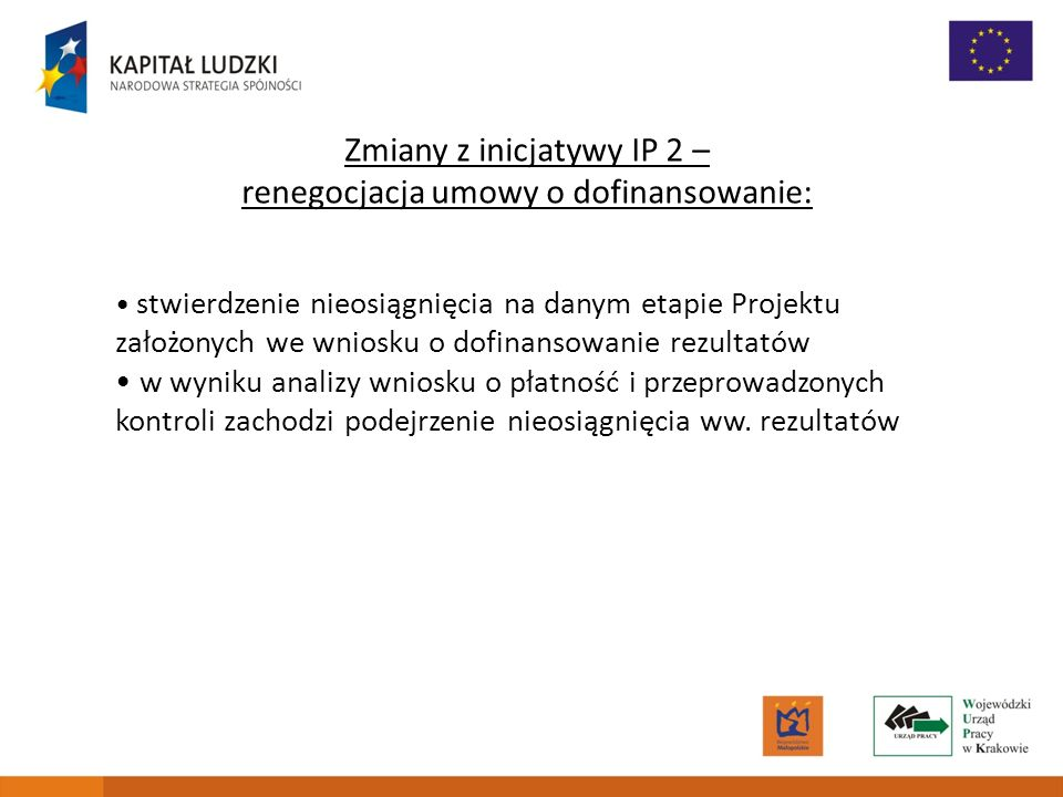 Zmiany z inicjatywy IP 2 – renegocjacja umowy o dofinansowanie: