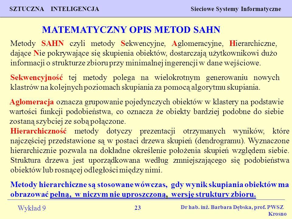 MATEMATYCZNY OPIS METOD SAHN