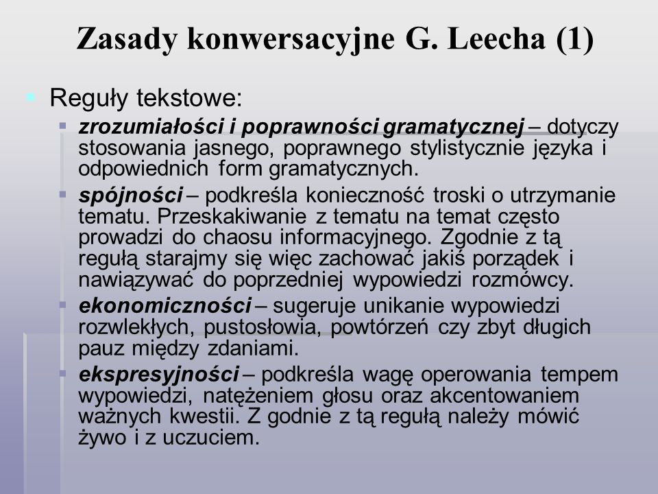 Zasady konwersacyjne G. Leecha (1)