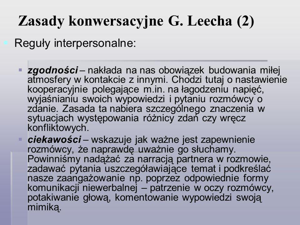 Zasady konwersacyjne G. Leecha (2)