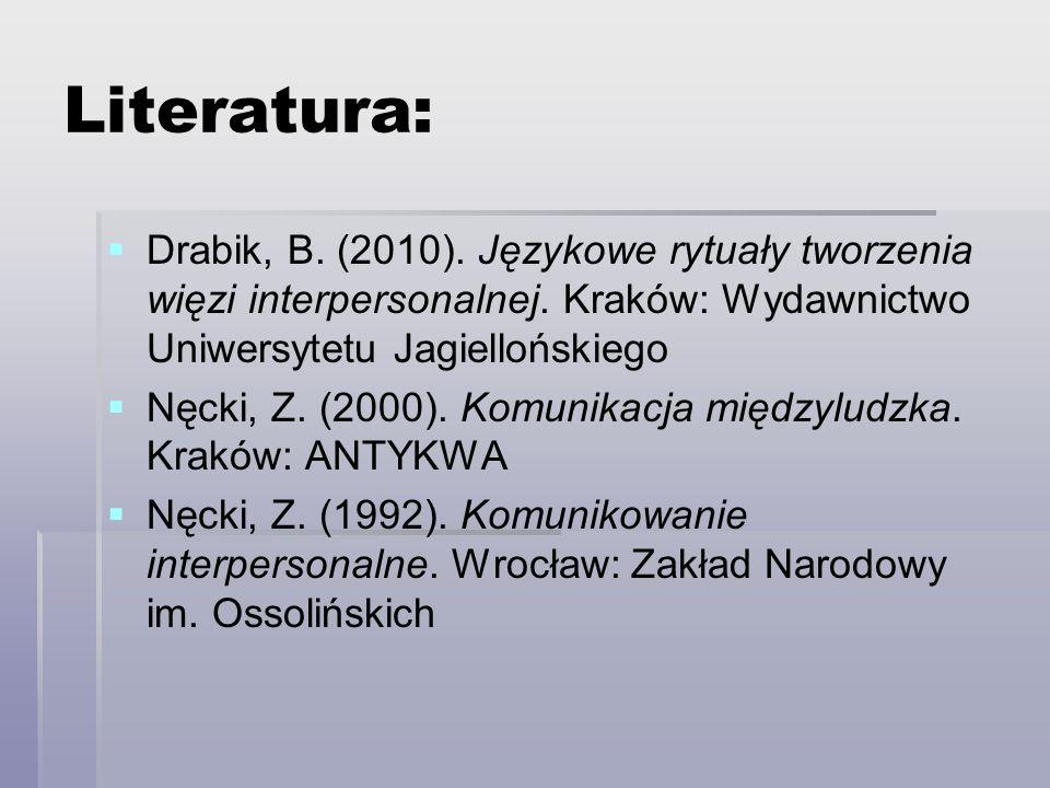 Literatura: Drabik, B. (2010). Językowe rytuały tworzenia więzi interpersonalnej. Kraków: Wydawnictwo Uniwersytetu Jagiellońskiego.