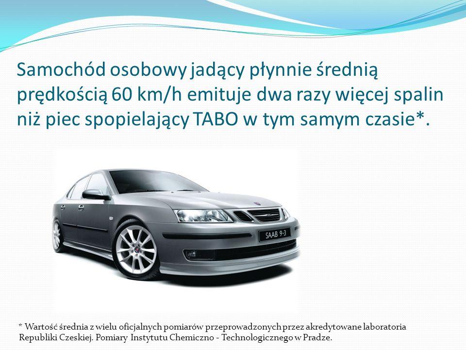Samochód osobowy jadący płynnie średnią prędkością 60 km/h emituje dwa razy więcej spalin niż piec spopielający TABO w tym samym czasie*.