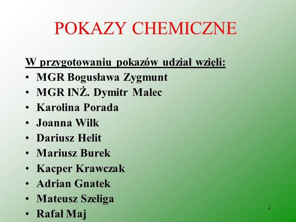 POKAZY CHEMICZNE W przygotowaniu pokazów udział wzięli: