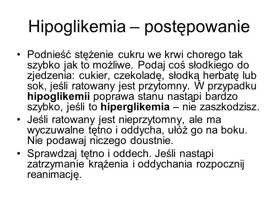 Hipoglikemia – postępowanie