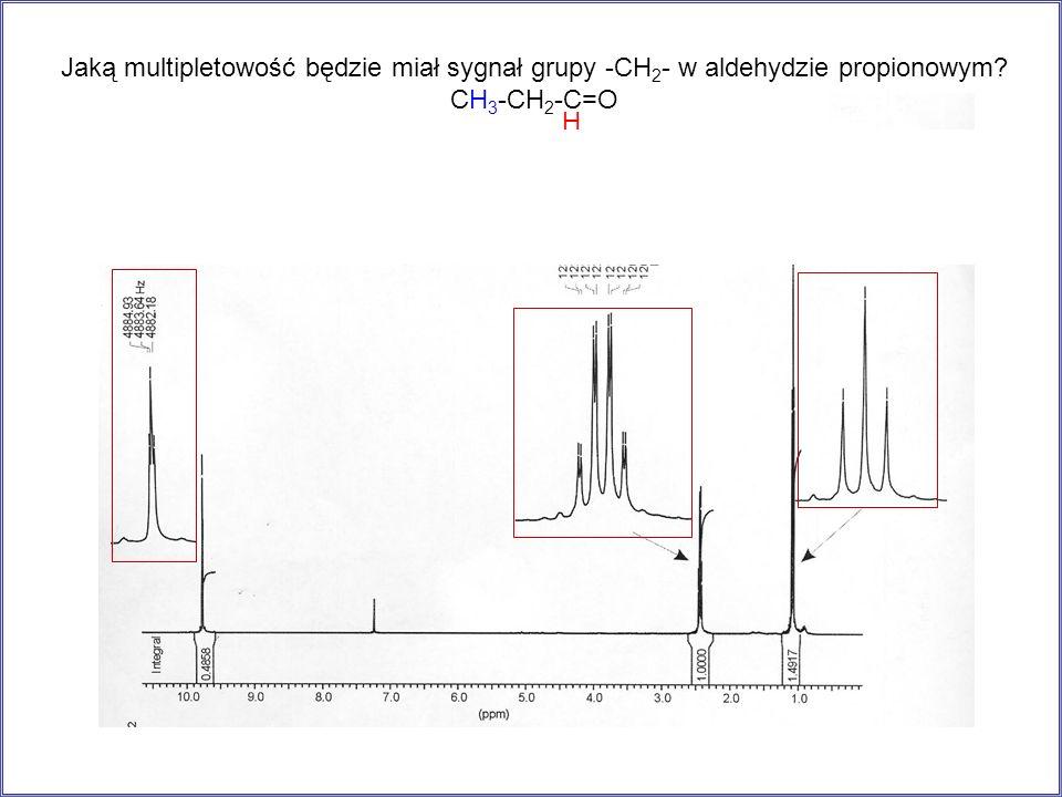 Jaką multipletowość będzie miał sygnał grupy -CH2- w aldehydzie propionowym