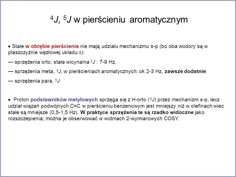 4J, 5J w pierścieniu aromatycznym