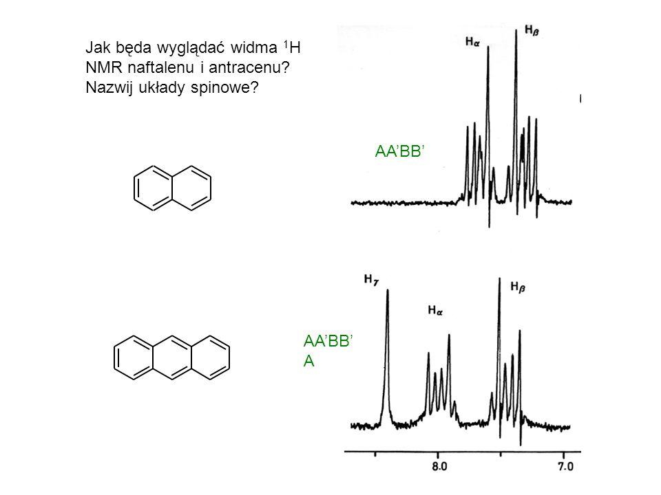 Jak będa wyglądać widma 1H NMR naftalenu i antracenu