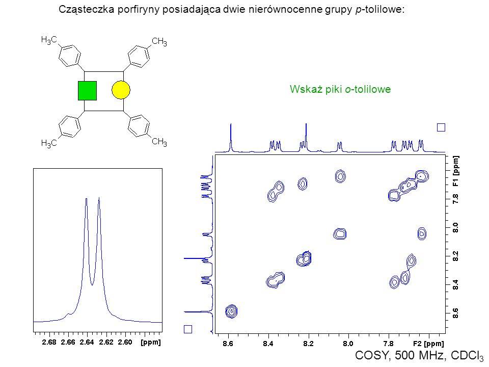 Cząsteczka porfiryny posiadająca dwie nierównocenne grupy p-tolilowe: