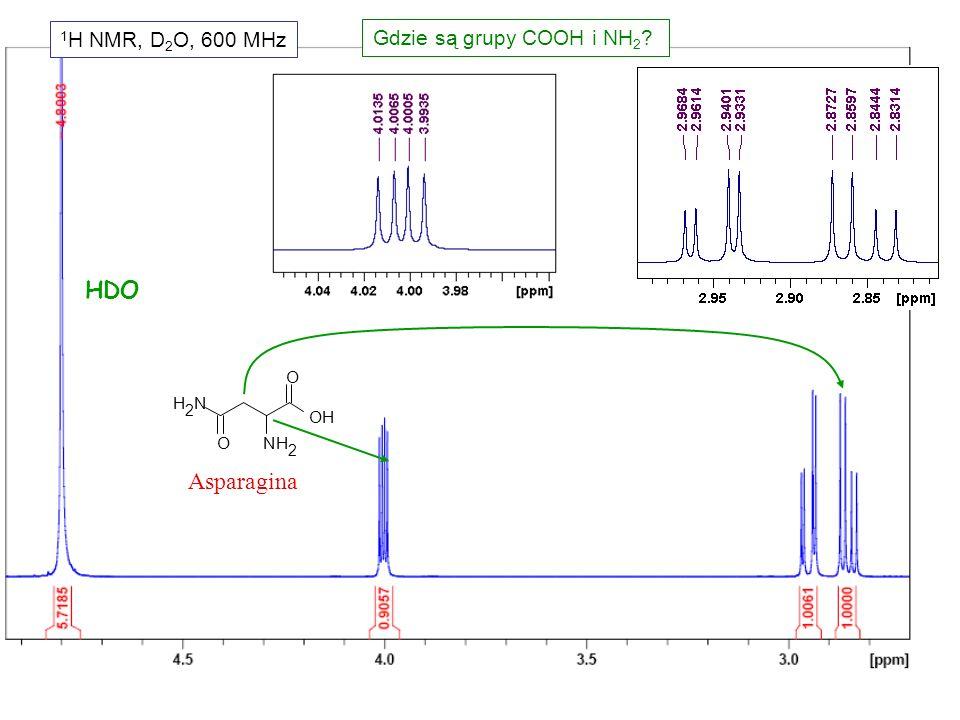 1H NMR, D2O, 600 MHz Gdzie są grupy COOH i NH2 HDO Asparagina O N H 2