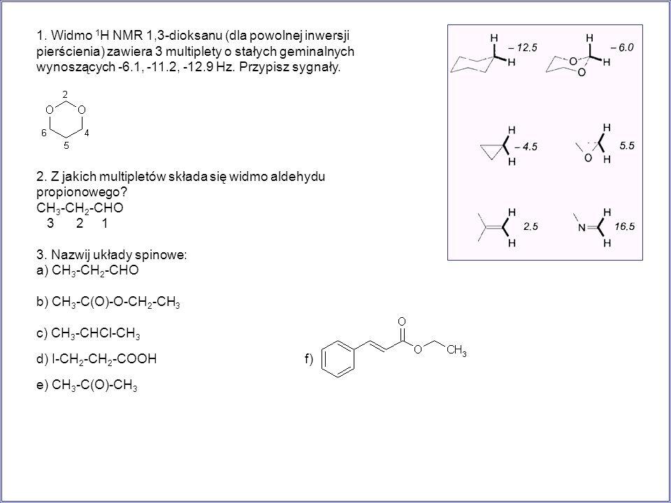 1. Widmo 1H NMR 1,3-dioksanu (dla powolnej inwersji pierścienia) zawiera 3 multiplety o stałych geminalnych wynoszących -6.1, -11.2, -12.9 Hz. Przypisz sygnały.