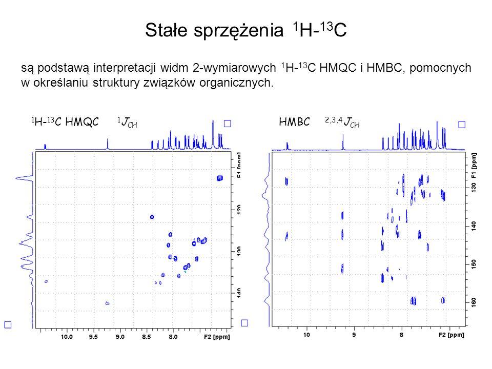 Stałe sprzężenia 1H-13Csą podstawą interpretacji widm 2-wymiarowych 1H-13C HMQC i HMBC, pomocnych w określaniu struktury związków organicznych.