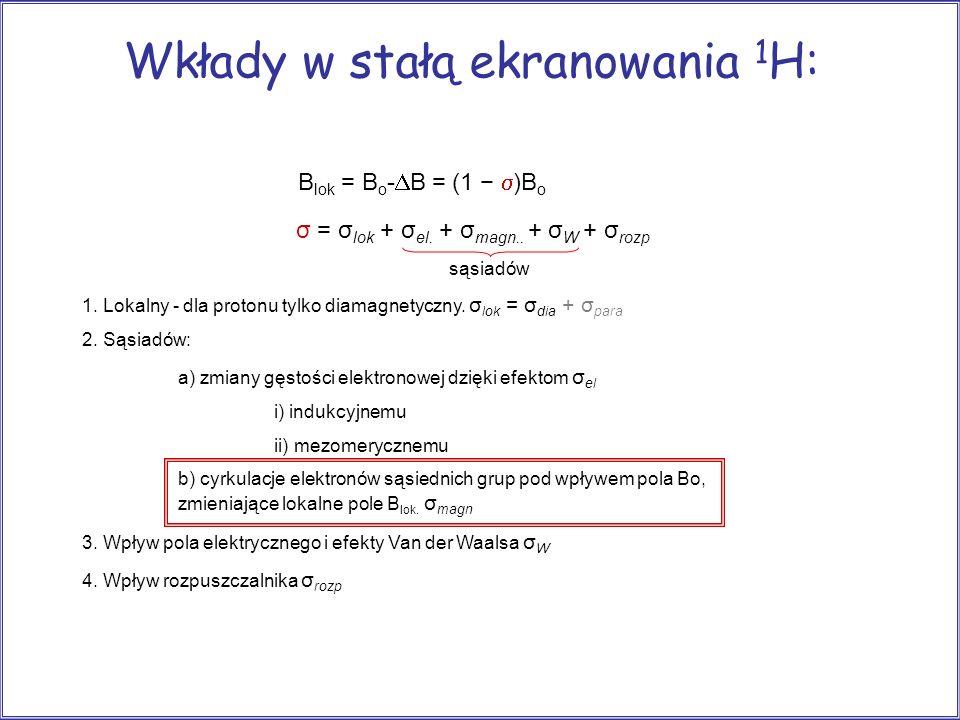 Wkłady w stałą ekranowania 1H: