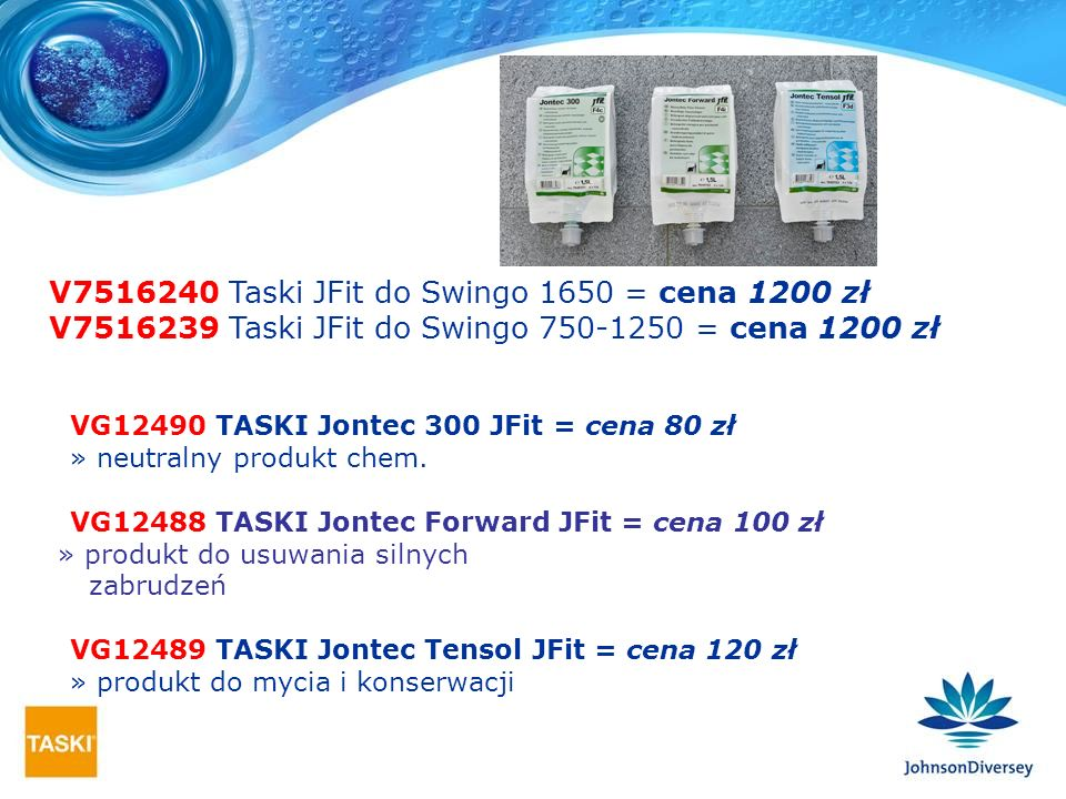V Taski JFit do Swingo 1650 = cena 1200 zł