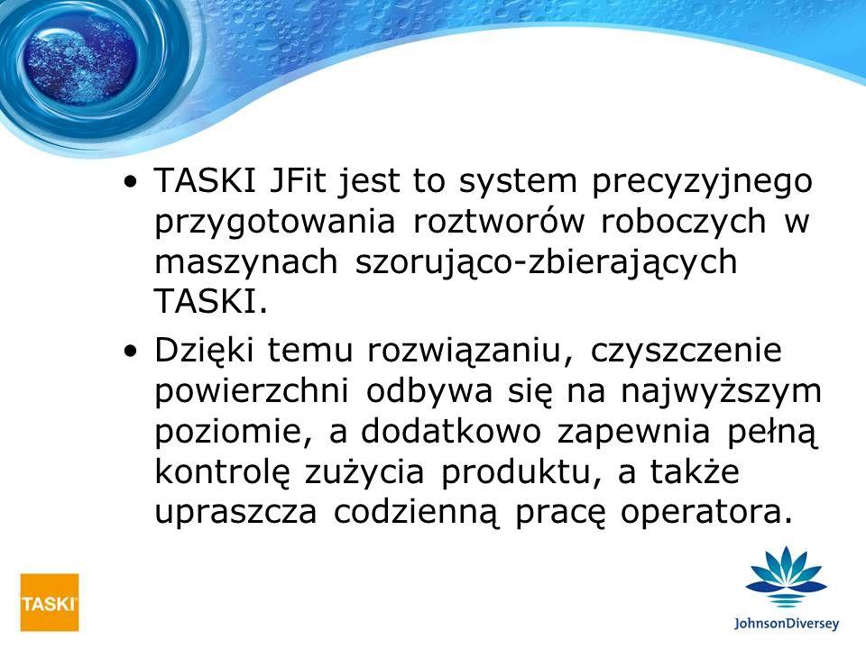 TASKI JFit jest to system precyzyjnego przygotowania roztworów roboczych w maszynach szorująco-zbierających TASKI.