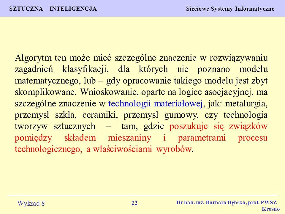 Algorytm ten może mieć szczególne znaczenie w rozwiązywaniu zagadnień klasyfikacji, dla których nie poznano modelu matematycznego, lub – gdy opracowanie takiego modelu jest zbyt skomplikowane. Wnioskowanie, oparte na logice asocjacyjnej, ma szczególne znaczenie w technologii materiałowej, jak: metalurgia, przemysł szkła, ceramiki, przemysł gumowy, czy technologia tworzyw sztucznych – tam, gdzie poszukuje się związków pomiędzy składem mieszaniny i parametrami procesu technologicznego, a właściwościami wyrobów.