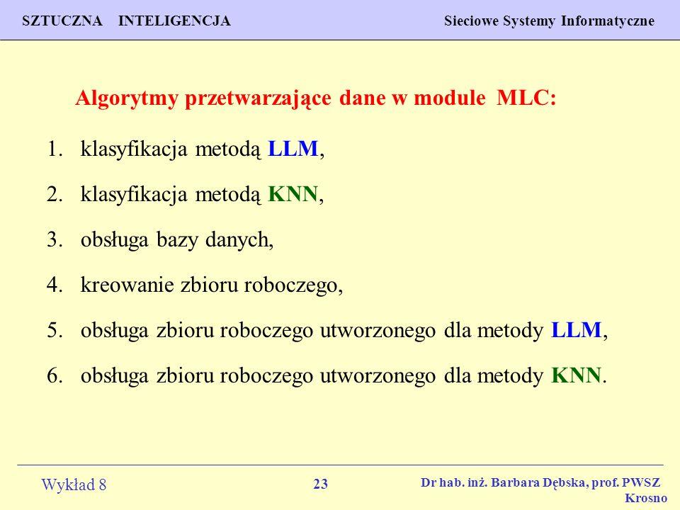 Algorytmy przetwarzające dane w module MLC: