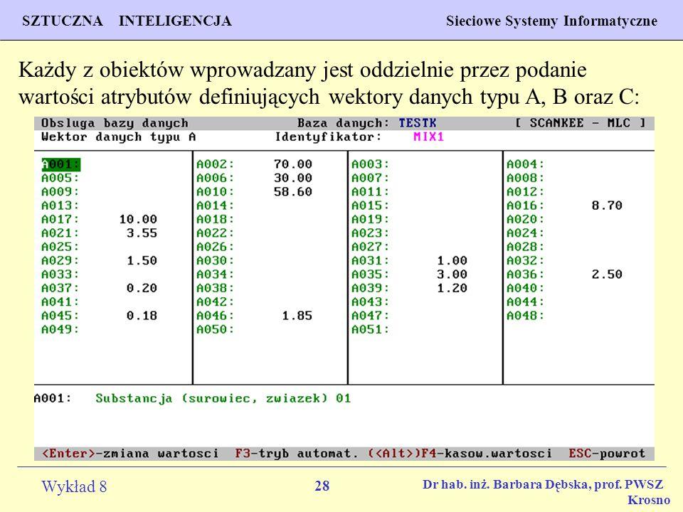 Każdy z obiektów wprowadzany jest oddzielnie przez podanie wartości atrybutów definiujących wektory danych typu A, B oraz C: