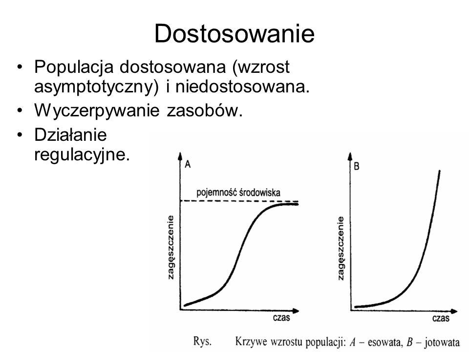 Dostosowanie Populacja dostosowana (wzrost asymptotyczny) i niedostosowana. Wyczerpywanie zasobów.