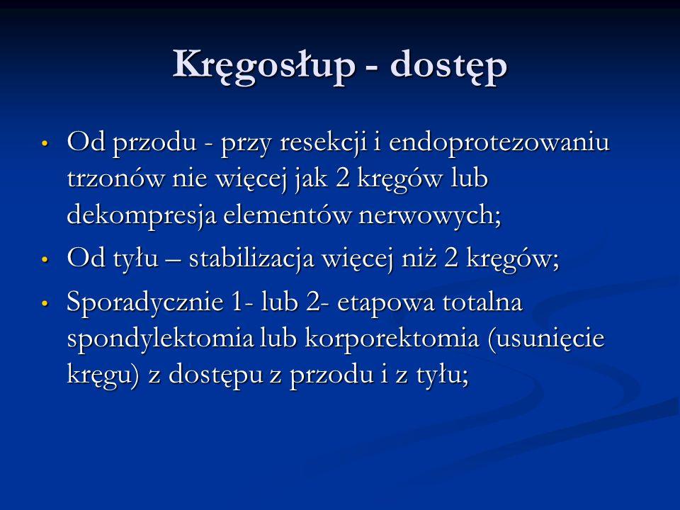 Kręgosłup - dostęp Od przodu - przy resekcji i endoprotezowaniu trzonów nie więcej jak 2 kręgów lub dekompresja elementów nerwowych;