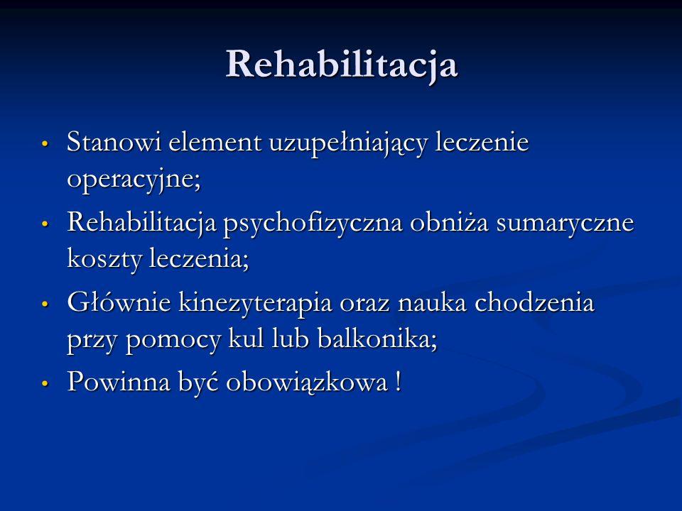 Rehabilitacja Stanowi element uzupełniający leczenie operacyjne;
