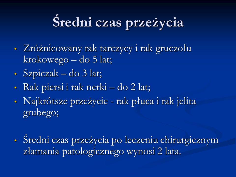 Średni czas przeżycia Zróżnicowany rak tarczycy i rak gruczołu krokowego – do 5 lat; Szpiczak – do 3 lat;