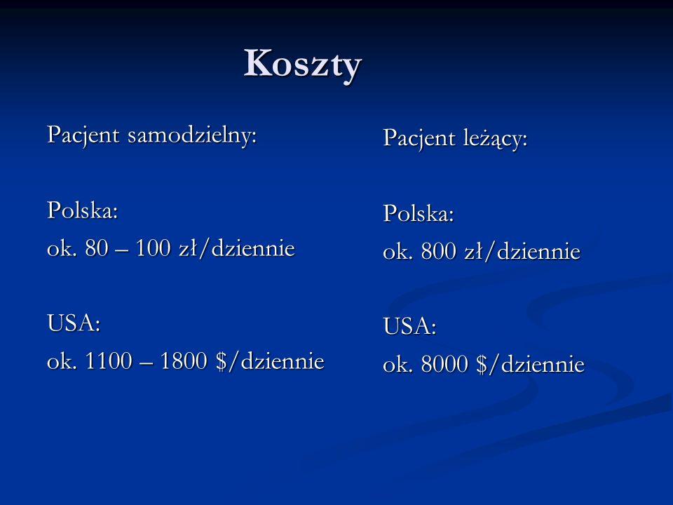 Koszty Pacjent samodzielny: Pacjent leżący: Polska: Polska: