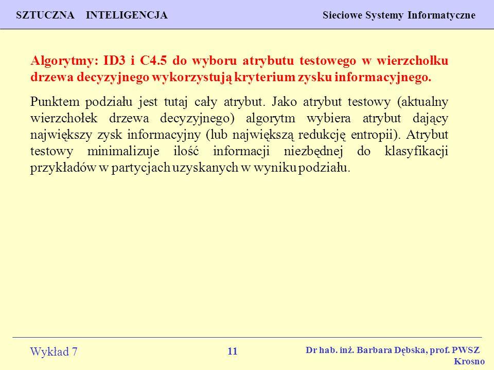 Algorytmy: ID3 i C4.5 do wyboru atrybutu testowego w wierzchołku drzewa decyzyjnego wykorzystują kryterium zysku informacyjnego.