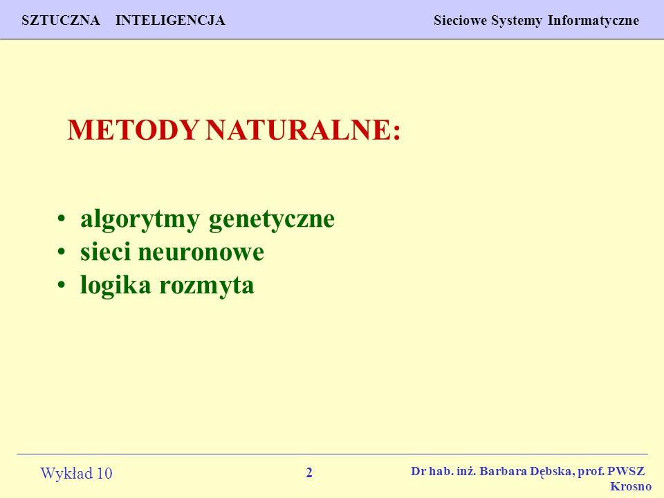 METODY NATURALNE: algorytmy genetyczne sieci neuronowe logika rozmyta