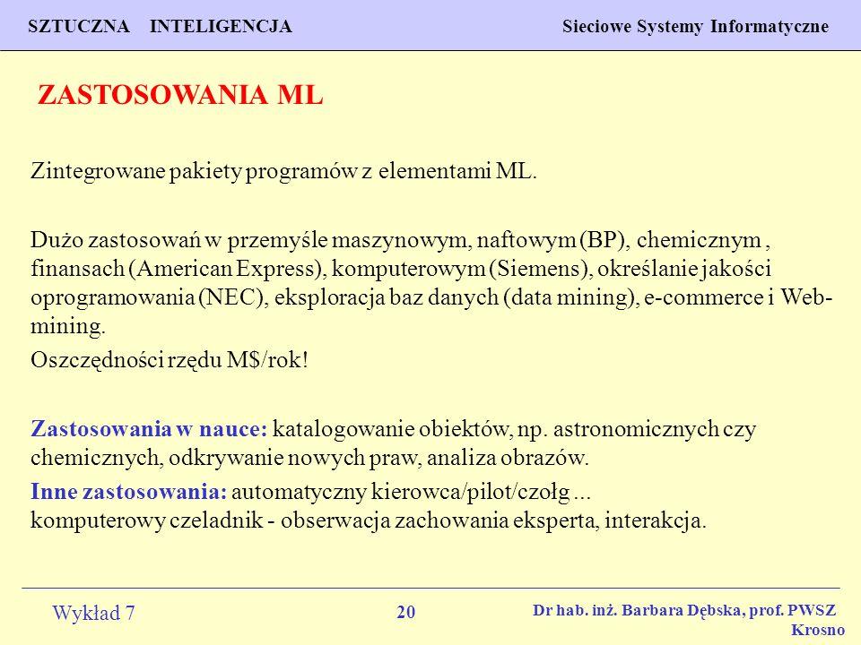 ZASTOSOWANIA ML Zintegrowane pakiety programów z elementami ML.