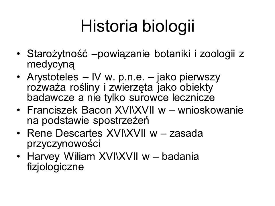 Historia biologii Starożytność –powiązanie botaniki i zoologii z medycyną.